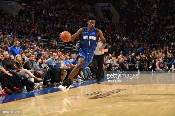 Jonathan Isaac of the Orlando Magic handles the ball against the Philadelphia 76ers on October 20 2018 in Philadelphia Pennsylvania NOTE TO USER User...