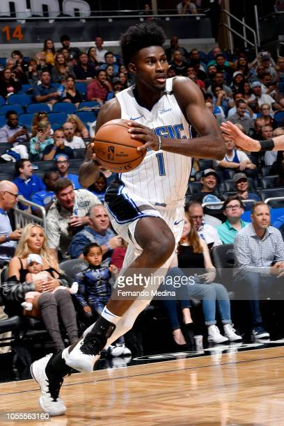 Jonathan Isaac of the Orlando Magic handles the ball against the Sacramento Kings on October 30 2018 at Amway Center in Orlando Florida NOTE TO USER...