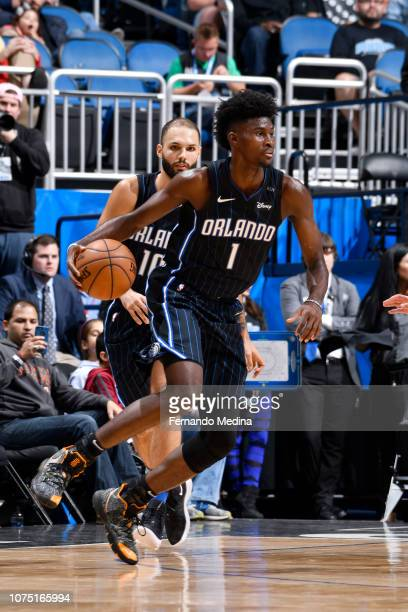 Jonathan Isaac of the Orlando Magic handles the ball against the Phoenix Suns on December 26 2018 at Amway Center in Orlando Florida NOTE TO USER...