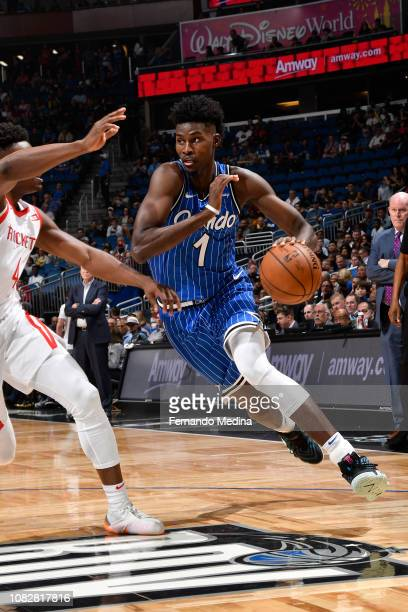 Jonathan Isaac of the Orlando Magic handles the ball against the Houston Rockets on January 13 2019 at Amway Center in Orlando Florida NOTE TO USER...