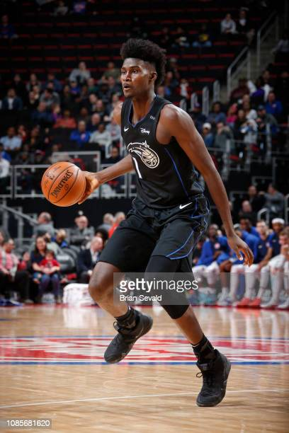 Jonathan Isaac of the Orlando Magic handles the ball against the Detroit Pistons on January 16 2019 at Little Caesars Arena in Detroit Michigan NOTE...