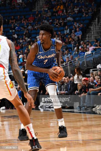 Jonathan Isaac of the Orlando Magic handles the ball against the Atlanta Hawks on April 5 2019 at Amway Center in Orlando Florida NOTE TO USER User...