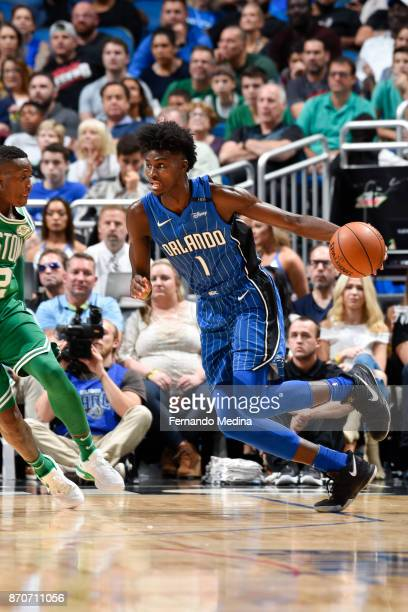 Jonathan Isaac of the Orlando Magic handles the ball against the Boston Celtics on November 5 2017 at Amway Center in Orlando Florida NOTE TO USER...