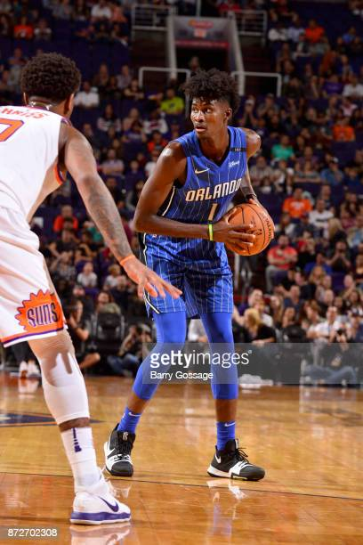 Jonathan Isaac of the Orlando Magic handles the ball against the Phoenix Suns on November 10 2017 at Talking Stick Resort Arena in Phoenix Arizona...