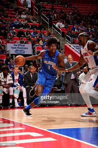 Jonathan Isaac of the Orlando Magic handles the ball against the Detroit Pistons on December 17 2017 at Little Caesars Arena in Detroit Michigan NOTE...