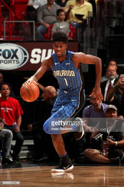 Jonathan Isaac of the Orlando Magic handles the ball against the Miami Heat on December 26 2017 at American Airlines Arena in Miami Florida NOTE TO...