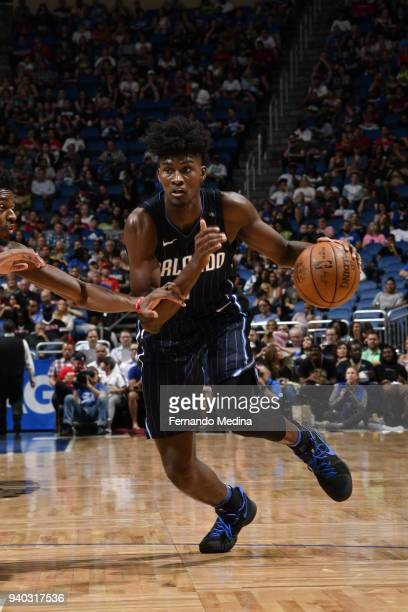 Jonathan Isaac of the Orlando Magic handles the ball against the Chicago Bulls on March 30 2018 at Amway Center in Orlando Florida NOTE TO USER User...