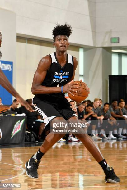Jonathan Isaac of the Orlando Magic handles the ball against the Miami Heat during the 2017 Summer League on July 2 2017 at Amway Center in Orlando...