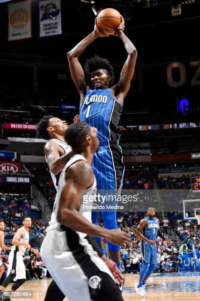Jonathan Isaac of the Orlando Magic handles the ball against the San Antonio Spurs on October 27 2017 at Amway Center in Orlando Florida NOTE TO USER...