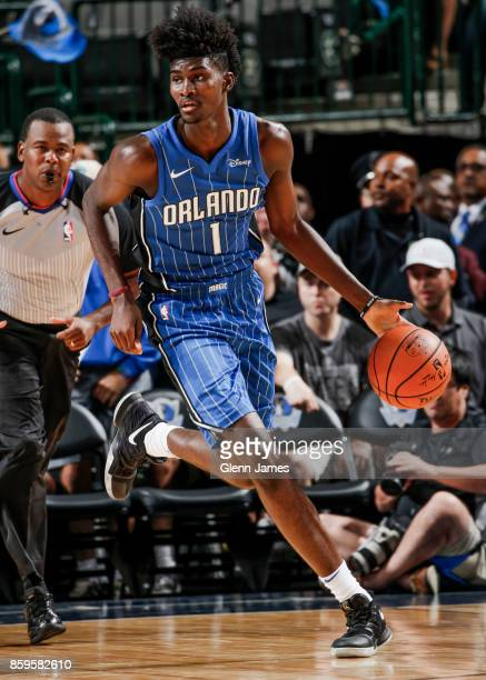 Jonathan Isaac of the Orlando Magic handles the ball during a preseason game against the Dallas Mavericks on October 9 2017 at the American Airlines...