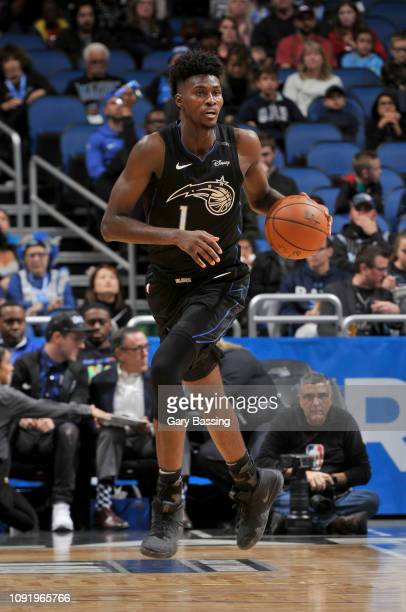 Jonathan Isaac of the Orlando Magic handles the ball during the game against the Indiana Pacers on January 31 2019 at Amway Center in Orlando Florida...
