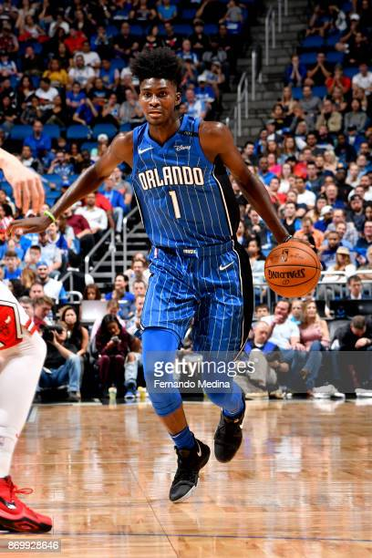Jonathan Isaac of the Orlando Magic handles the ball during the game against the Chicago Bulls on November 3 2017 at Amway Center in Orlando Florida...