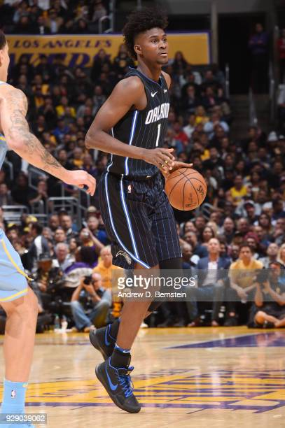 Jonathan Isaac of the Orlando Magic handles the ball during the game against the Los Angeles Lakers at STAPLES Center on March 7 2017 in Los Angeles...