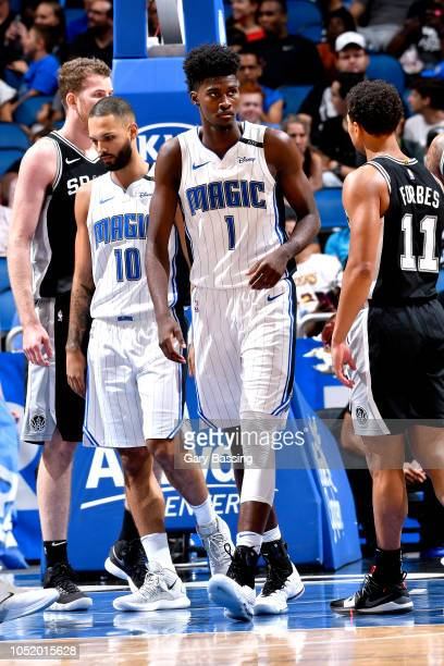 Jonathan Isaac of the Orlando Magic looks on against the San Antonio Spurs during a preseason game on October 12 2018 at the Amway Center in Orlando...