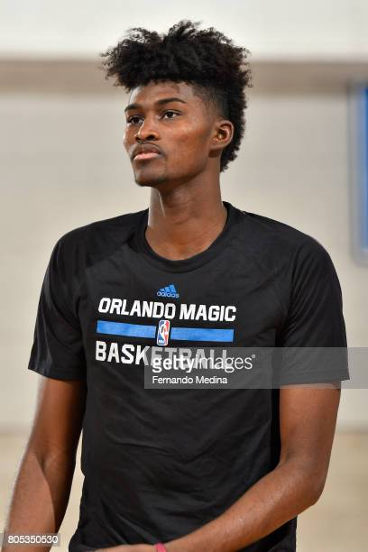 Jonathan Isaac of the Orlando Magic looks on before the game against the Indiana Pacers during the 2017 Orlando Summer League on July 1 2017 at Amway...