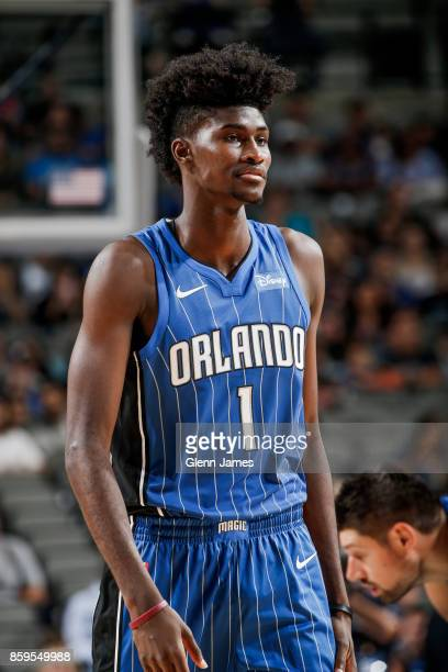 Jonathan Isaac of the Orlando Magic looks on during a preseason game against the Dallas Mavericks on October 9 2017 at the American Airlines Center...