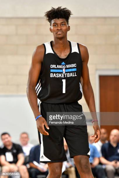 Jonathan Isaac of the Orlando Magic looks on during the game against the Indiana Pacers during the 2017 Orlando Summer League on July 1 2017 at Amway...