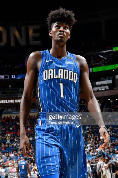 Jonathan Isaac of the Orlando Magic looks on during the game against the San Antonio Spurs on October 27 2017 at Amway Center in Orlando Florida NOTE...