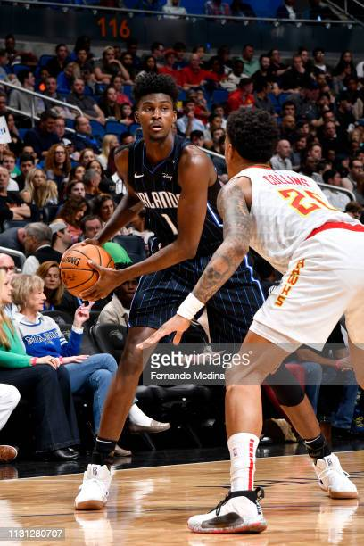 Jonathan Isaac of the Orlando Magic looks to pass against the Atlanta Hawks on March 17 2019 at Amway Center in Orlando Florida NOTE TO USER User...