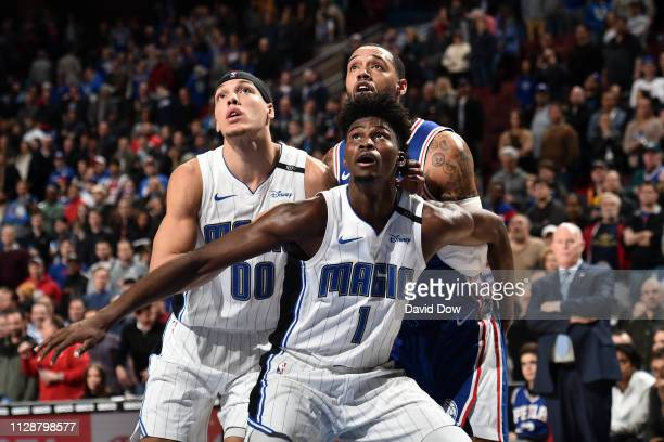 Jonathan Isaac of the Orlando Magic plays defense during the game against the Philadelphia 76ers on March 5 2019 at the Wells Fargo Center in...