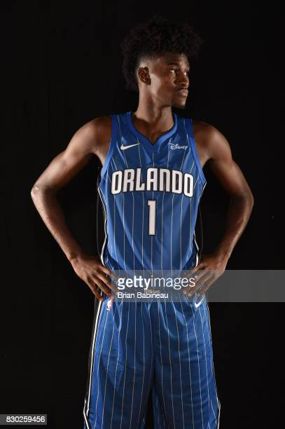 Jonathan Isaac of the Orlando Magic poses for a photo during the 2017 NBA Rookie Photo Shoot at MSG training center on August 11 2017 in Tarrytown...