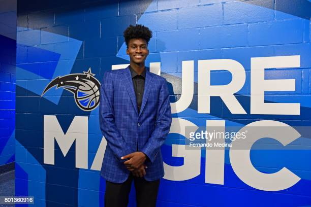 Jonathan Isaac of the Orlando Magic poses for a portrait after being introduced by the team on June 23 2017 at Amway Center in Orlando Florida NOTE...