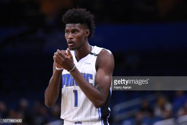 Jonathan Isaac of the Orlando Magic reacts in overtime against the Denver Nuggets at Amway Center on December 05 2018 in Orlando Florida