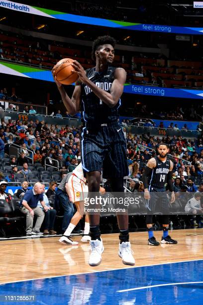 Jonathan Isaac of the Orlando Magic rebounds the ball against the Atlanta Hawks on March 17 2019 at Amway Center in Orlando Florida NOTE TO USER User...