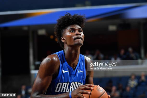 Jonathan Isaac of the Orlando Magic shoots a free throw during the game against the Memphis Grizzlies during a preseason game on October 2 2017 at...