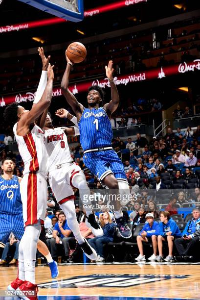 Jonathan Isaac of the Orlando Magic shoots the ball against the Miami Heat on December 23 2018 at Amway Center in Orlando Florida NOTE TO USER User...