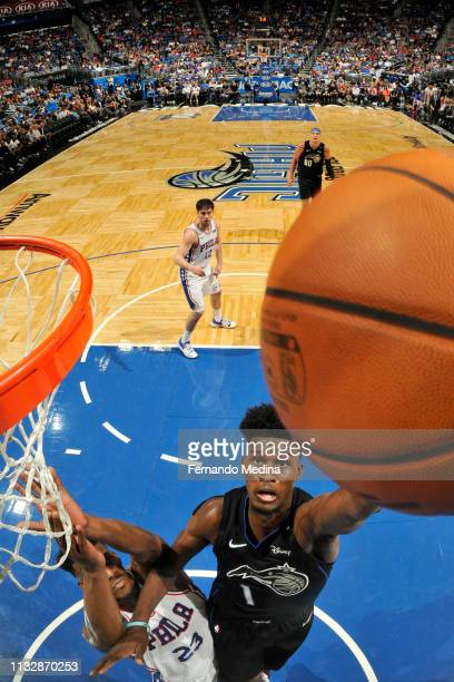 Jonathan Isaac of the Orlando Magic shoots the ball against the Philadelphia 76ers on March 25 2019 at Amway Center in Orlando Florida NOTE TO USER...