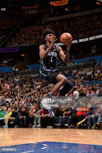 Jonathan Isaac of the Orlando Magic shoots the ball against the Boston Celtics on March 16 2018 at Amway Center in Orlando Florida NOTE TO USER User...