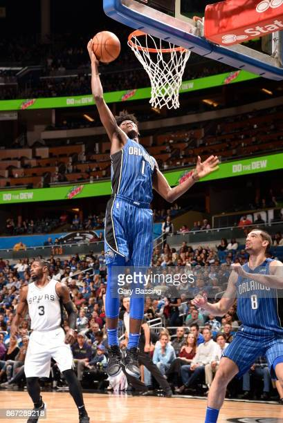 Jonathan Isaac of the Orlando Magic shoots the ball against the San Antonio Spurs on October 27 2017 at Amway Center in Orlando Florida NOTE TO USER...