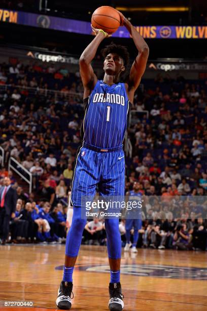 Jonathan Isaac of the Orlando Magic shoots the ball against the Phoenix Suns on November 10 2017 at Talking Stick Resort Arena in Phoenix Arizona...