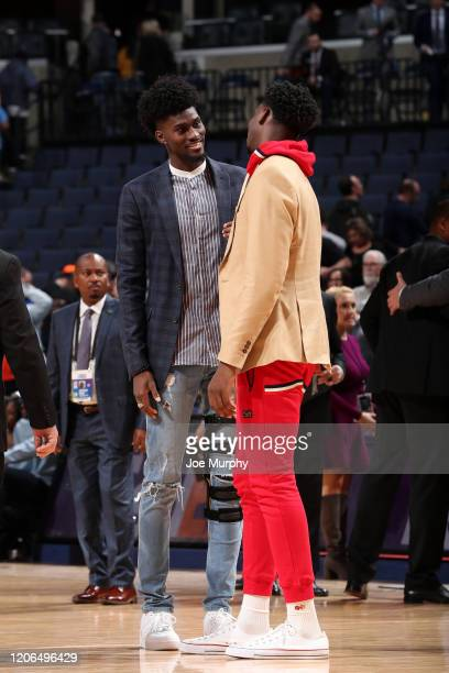Jonathan Isaac of the Orlando Magic talks with Jaren Jackson Jr #13 of the Memphis Grizzlies after the game on March 10 2020 at FedExForum in Memphis...