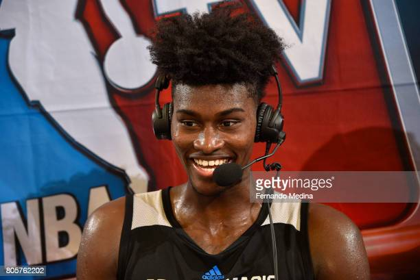 Jonathan Isaac of the Orlando Magic talks with media after the game against the Miami Heat during the 2017 Summer League on July 2 2017 at Amway...