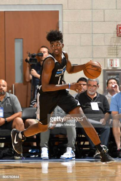 Jonathan Isaac of the Orlando Magicl handles the ball against the Miami Heat during the 2017 Summer League on July 2 2017 at Amway Center in Orlando...