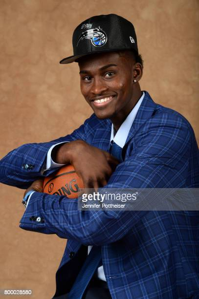 Jonathan Isaac poses for a portrait after being drafted number six overall to the Orlando Magic during the 2017 NBA Draft on June 22 2017 at Barclays...