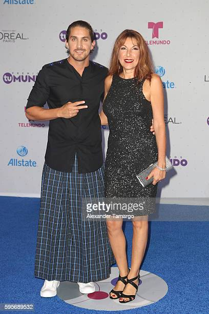 Jonathan Islas and guest arrive at Telemundo's Premios Tu Mundo Your World Awards at American Airlines Arena on August 25 2016 in Miami Florida