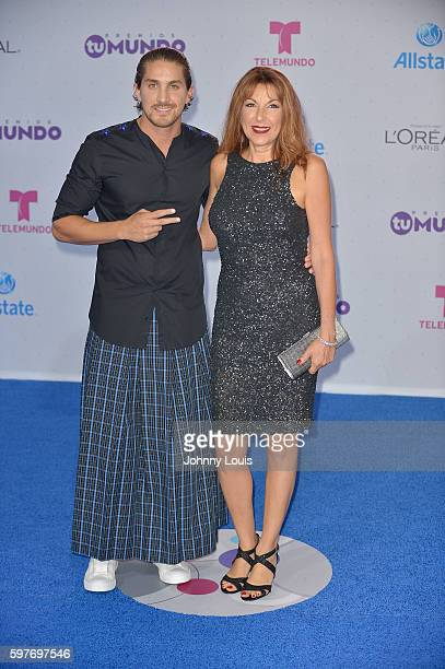 Jonathan Islas and Guest arrives at Telemundo's Premios Tu Mundo 'Your World' Awards at American Airlines Arena on August 25 2016 in Miami Florida