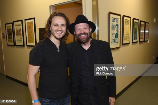 Jonathan Jackson and Colin Linden take a photo backstage for Charles #OneSingleYear Celebration Concert at CMA Theater at the Country Music Hall of...