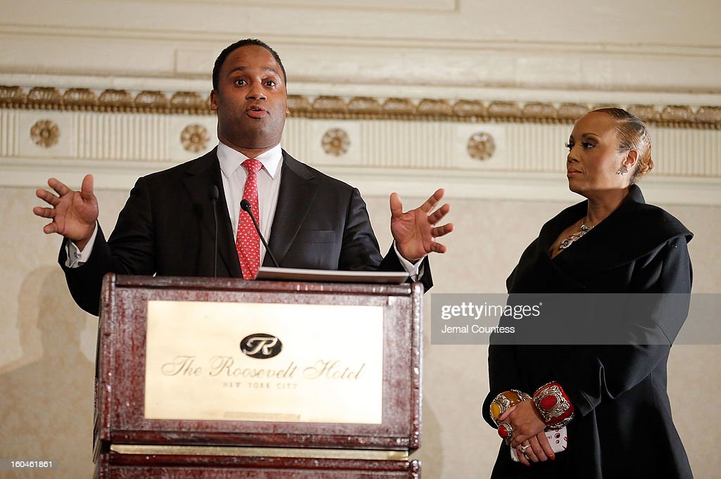 Jonathan Jackson and media personality Santita Jackson onstage at The 16th Annual Wall Street Project Economic Summit - Day 1 at The Roosevelt Hotel on January 31, 2013 in New York City.