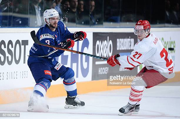 Jonathan Janil of France and Mikkel Aagaard of Denmark during the International Friendly Match between France and Denmark at AccorHotels Arena on...