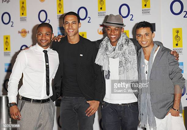 Jonathan JB Gill Marvin Hume Oritse Williams and Aston Merrygold of JLS arrive at the O2 Silver Clef Awards 2010 at the London Hilton on July 2 2010...