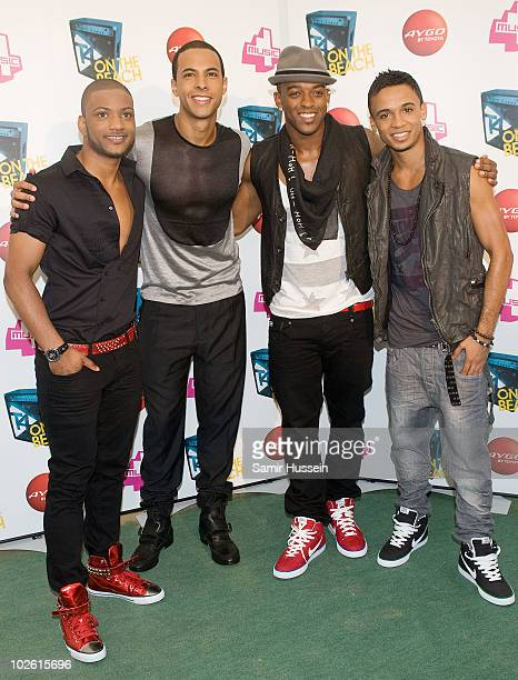 Jonathan JB Gill Marvin Hume Oritse Williams and Aston Merrygold of JLS pose at T4 On The Beach on July 4 2010 in WestonsuperMare England