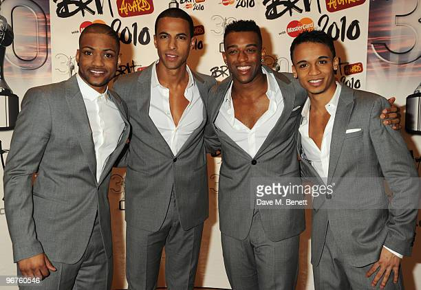 LR Jonathan 'JB' Gill Marvin Humes Oritse Williams and Aston Merrygold of JLS arrive at The Brit Awards 2010 at Earls Court One on February 16 2010...