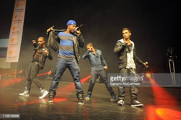 Jonathan JB Gill Oritse Williams Marvin Humes and Aston Merrygold of JLS perform in 'The Sunshine Concert' for Rays of Sunshine Children's Charity at...
