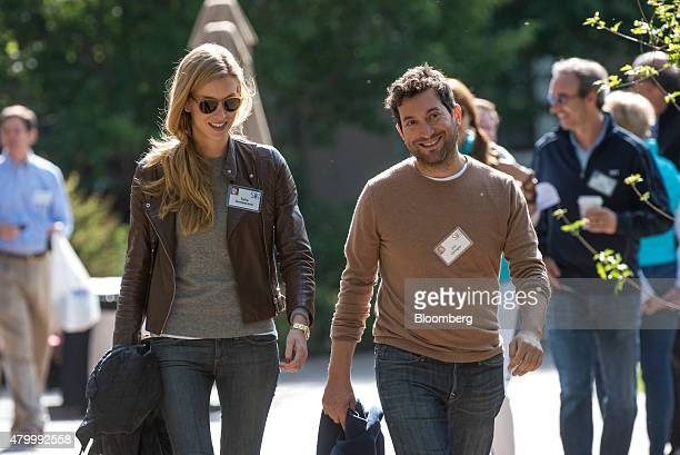Jonathan Jon Oringer founder and chief executive officer of Shutterstock Inc right and Talia Greismann senior product designer at Rent the Runway...
