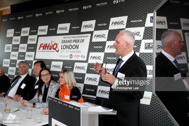 Jonathan Jones of Jonathan Jones Racing speaks to the media during a press conference during the UIM F1H2O Grand Prix Of London Launch in London on...