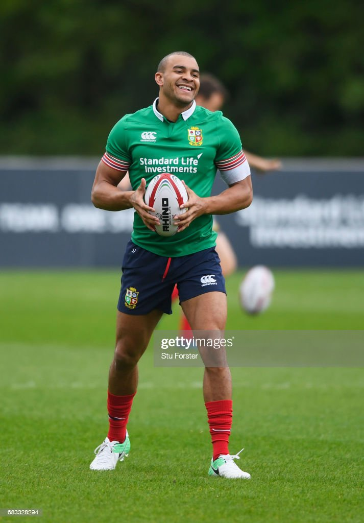 Jonathan Joseph looks on during a British and Irish Lions training session at Vale of Glamorgan on May 15, 2017 in Cardiff, Wales.